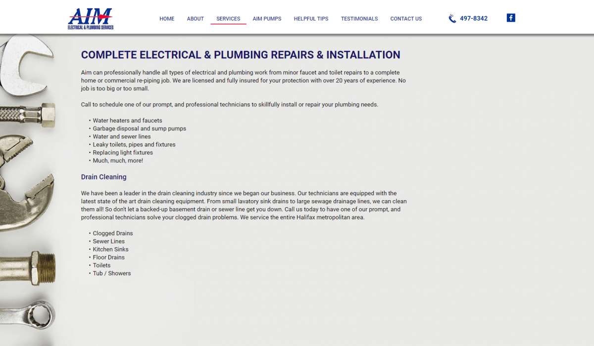 Aim Electrical Plumbing Services Page