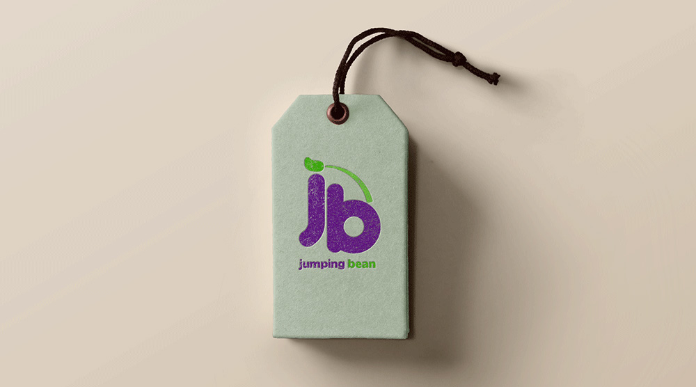 Jumping Bean Logo Displayed on a Tag