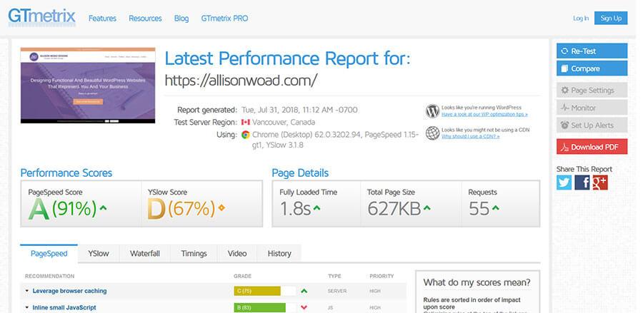 Allison Woad Designs GTmetrix Performance Report