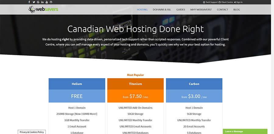 Websavers Canadian web hosting in Halifax, optimized WordPress hosting