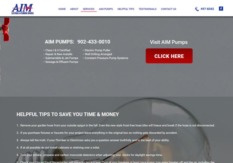 Aim Electrical and Plumbing Aim Pumps Page View