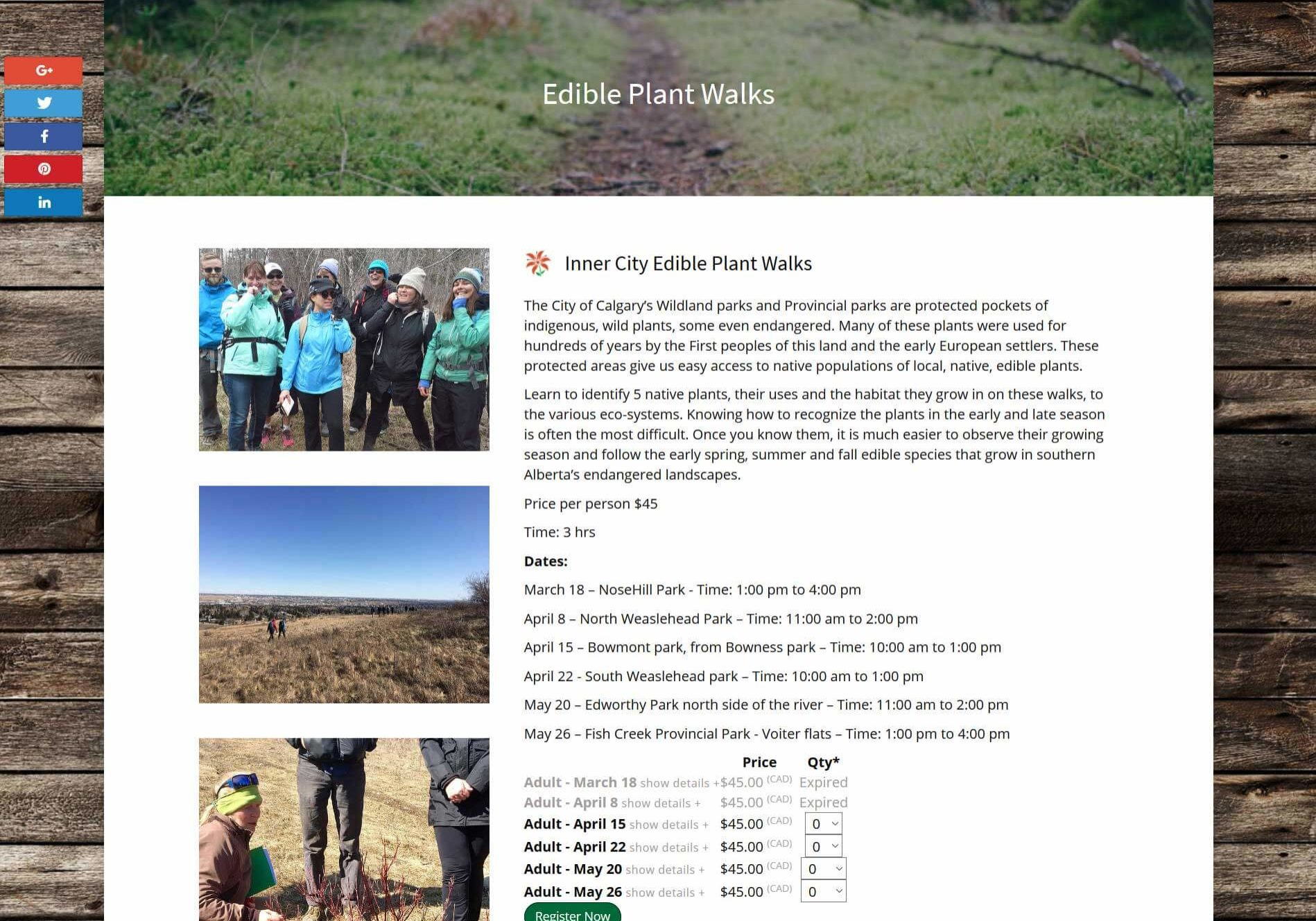 Full Circle Adventures Edible Plant Walks Page Screenshot