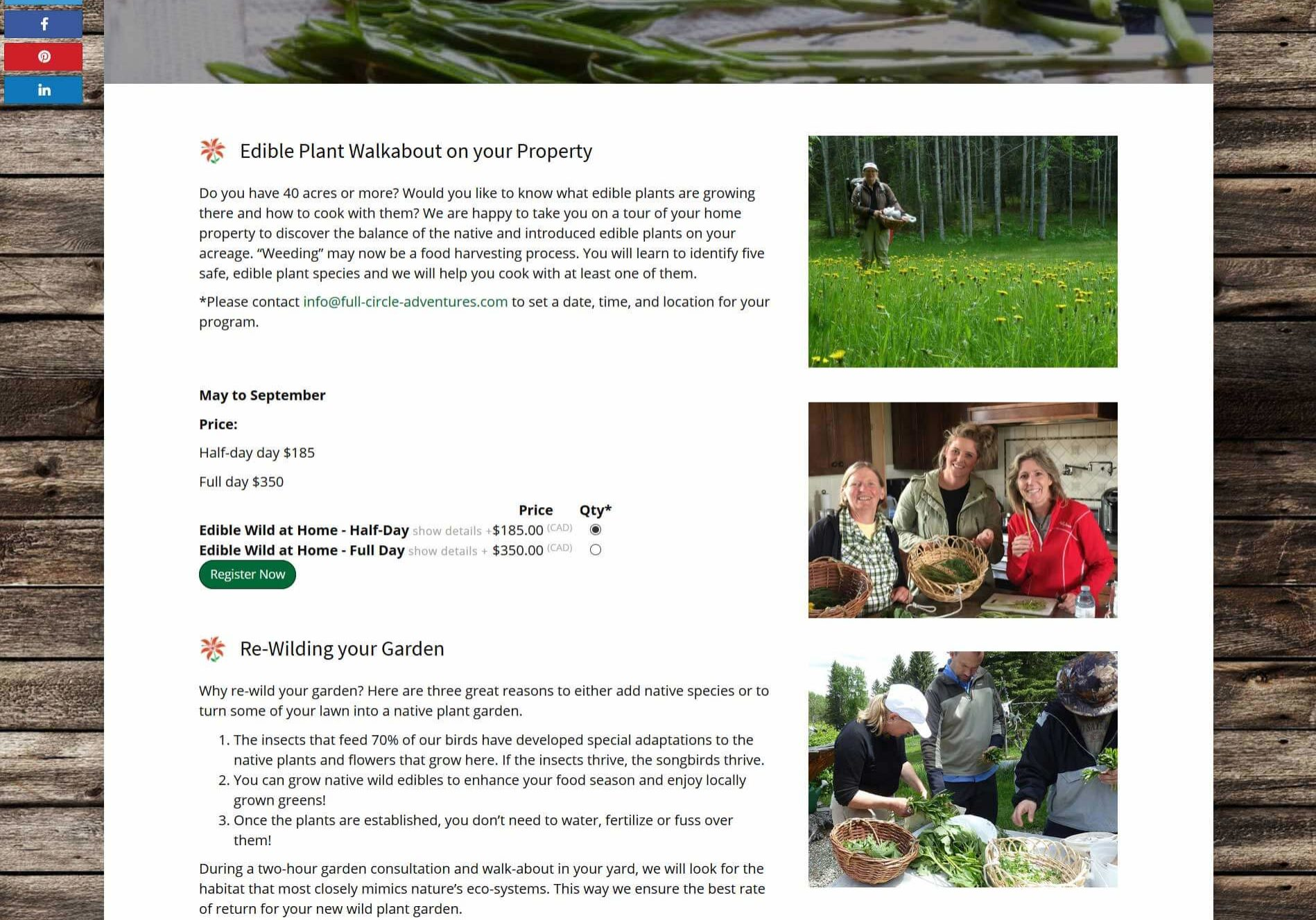 Full Circle Adventures Edible Wild at Home Page Screenshot