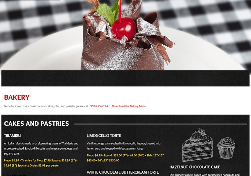 Italian Market Bakery Page Showing the Menu and Bakery Images