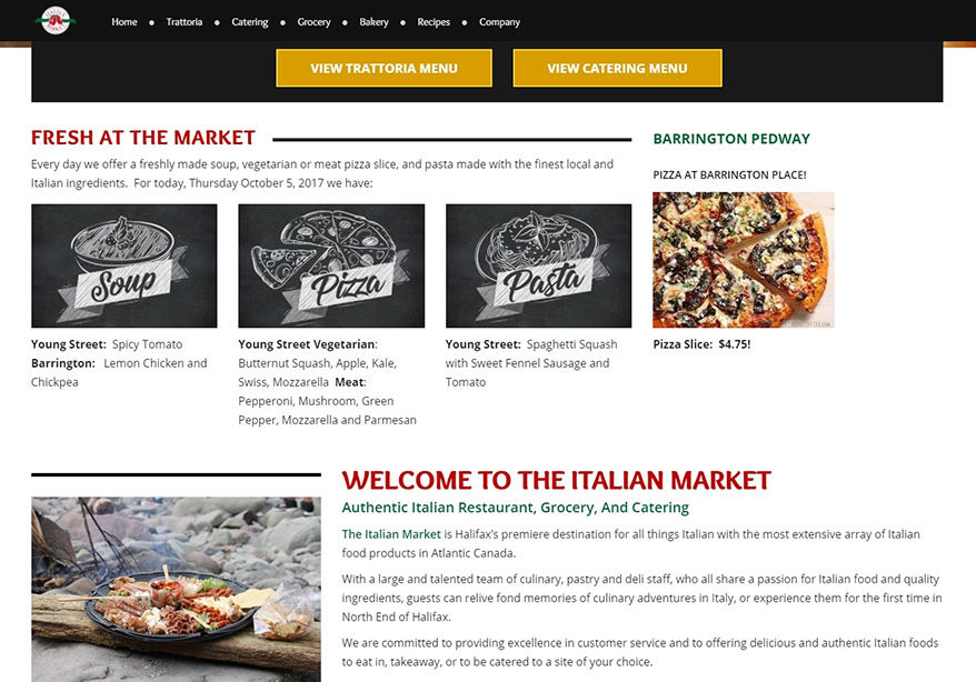 Home Page of the Italian Market Website