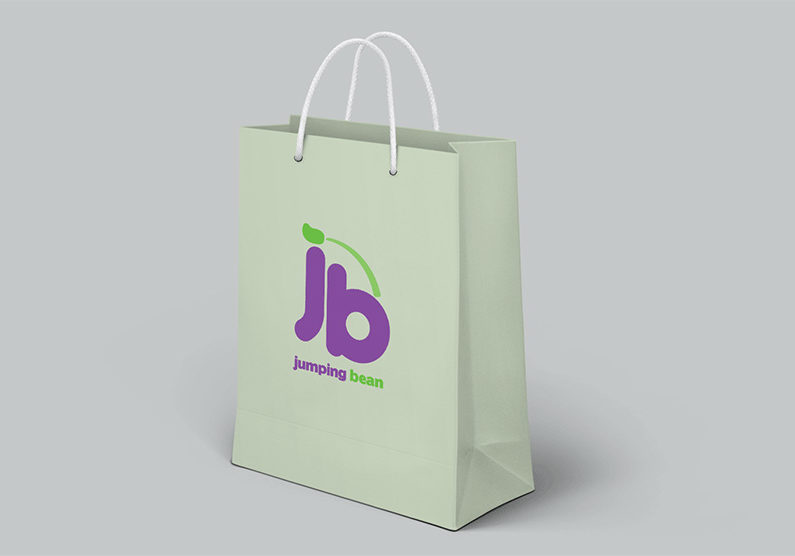 Jumping Bean Logo Displayed on a Shopping Bag