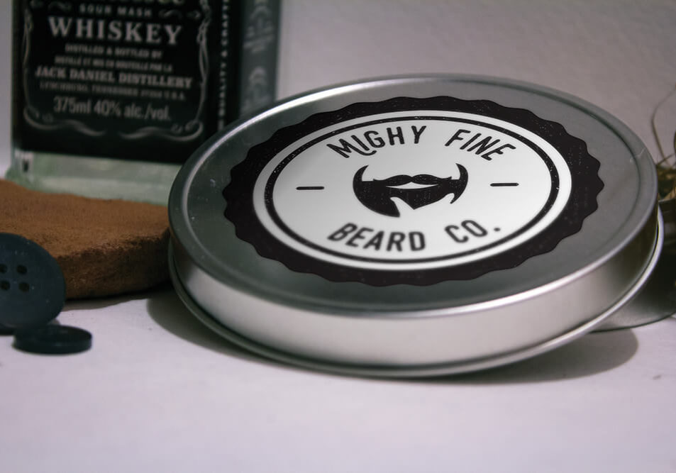 Mighty Fine Beard Co. Logo Displayed on a Tin