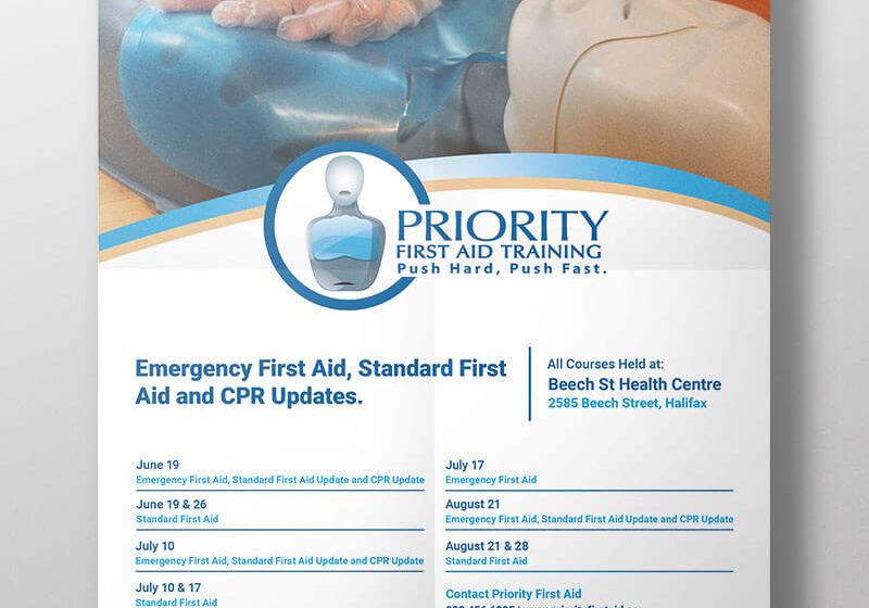 Priority First Aid Training Summer Courses Event Poster