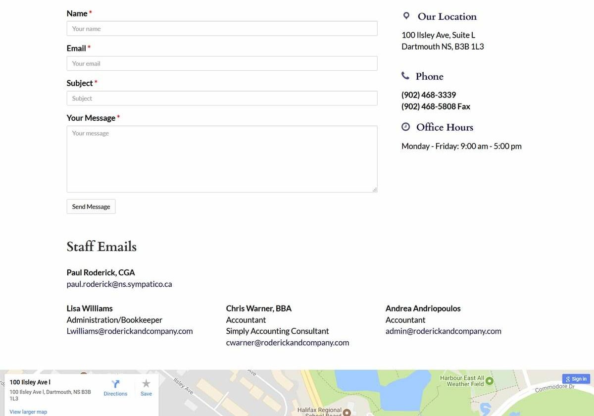Roderick and Company Contact Page