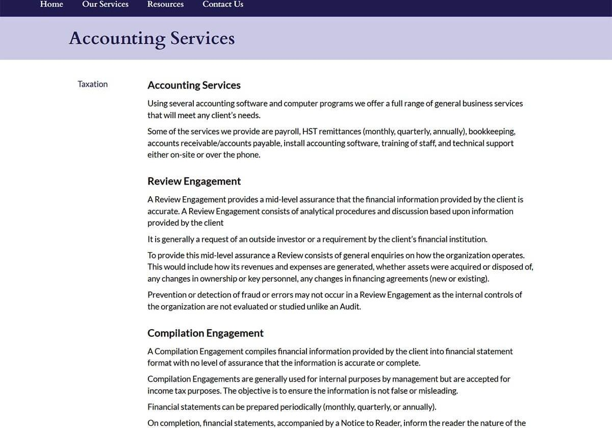 Roderick and Company Services Page