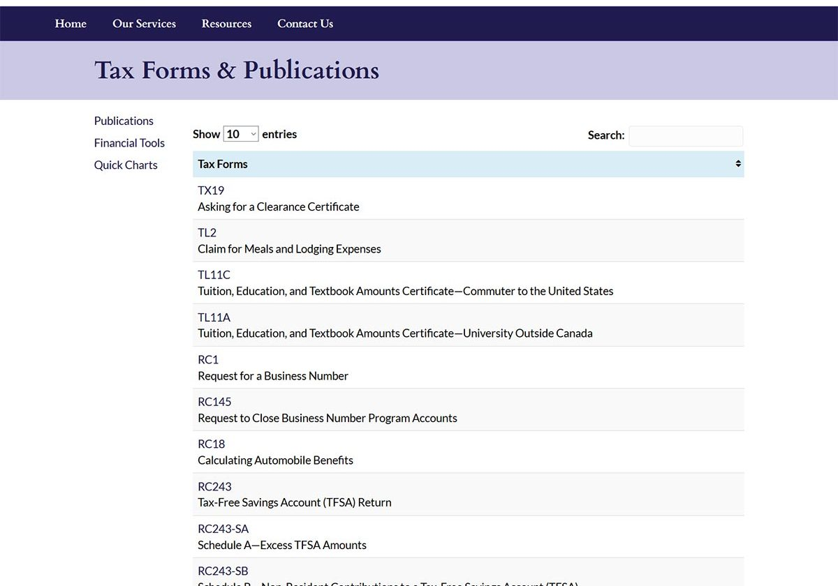 Roderick and Company Tax Forms and Publications Page
