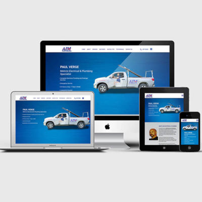 AIM Electrical and Plumbing Services Website Shown on iMac Macbook Tablet and Phone