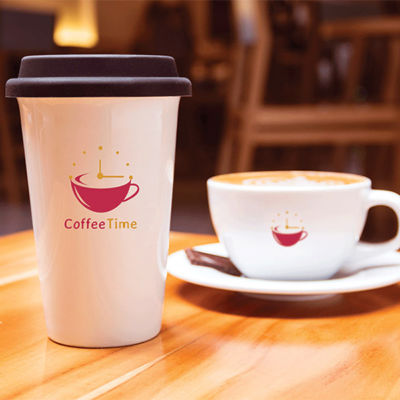 Coffee Time Branding Displayed on a Coffee Mug and Cup