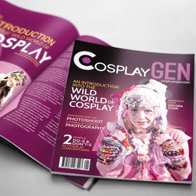 CosplayGen Magazine Cover and Interior Spread Display
